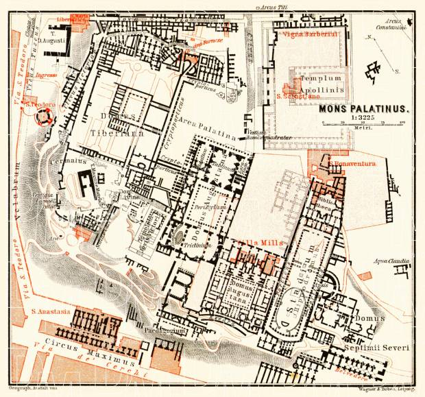 Old map of Mons Palatinus in Rome in 1898 Buy vintage map replica