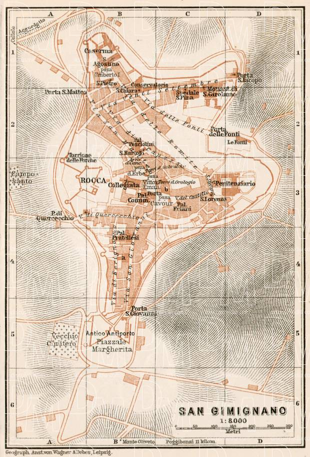 old map of san gimignano in 1909 buy vintage map replica. Black Bedroom Furniture Sets. Home Design Ideas