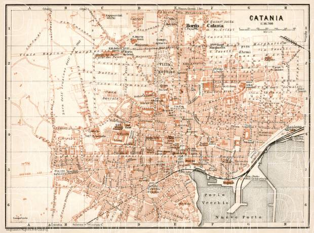 Old map of Catania in 1912 Buy vintage map replica poster print or