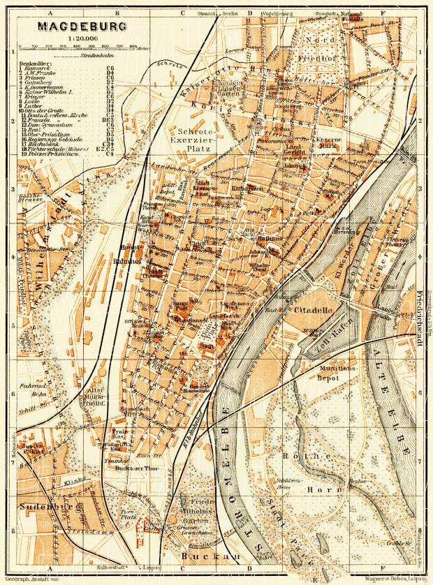Old Map Of Magdeburg In 1906 Buy Vintage Map Replica Poster Print