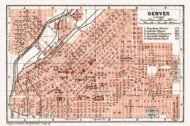 Old map of Denver in 1909. Buy vintage map replica poster print or ...
