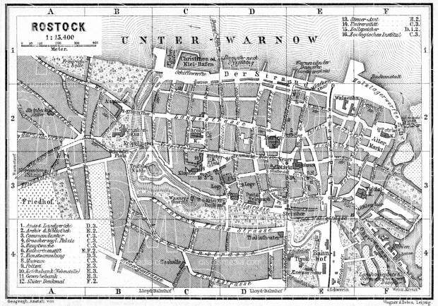 Old Map Of Rostock In 1887 Buy Vintage Map Replica Poster Print Or