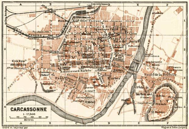 Map Of France Carcassonne.Old Map Of Carcassonne In 1913 Buy Vintage Map Replica Poster Print
