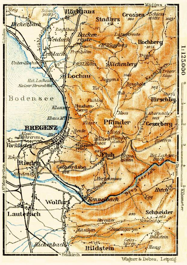 Old map of the vicinity of Bregenz in 1911 Buy vintage map replica