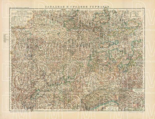 Map Of Central Germany.Western And Central Germany Map In Russian 1910