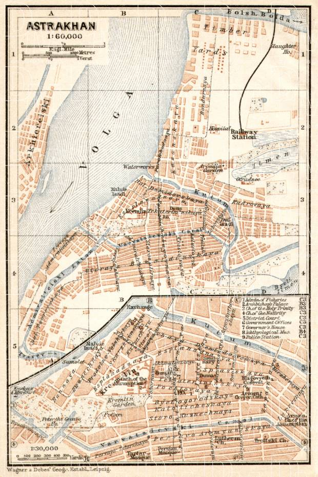 Old map of Astrakhan in 1914 Buy vintage map replica poster print