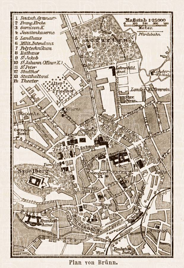 Old map of Brnn Brno in 1903 Buy vintage map replica poster