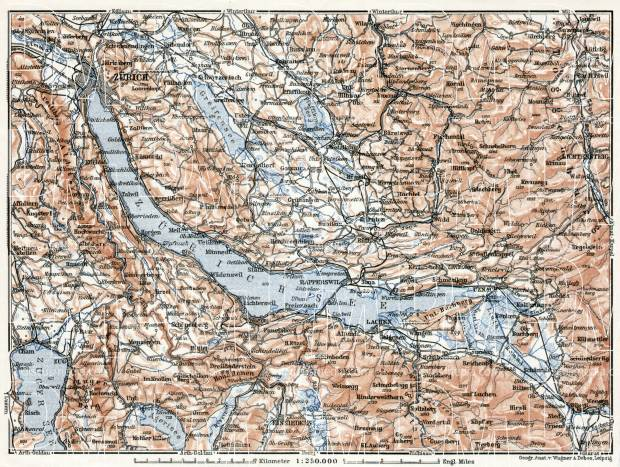 Old map of the vicinity of the Lakes of Zurich and Zug in 1909 Buy