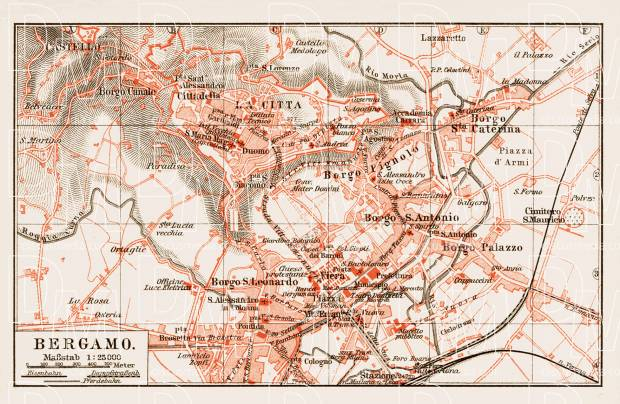 Old map of bergamo in 1903 buy vintage map replica poster print or bergamo city map 1903 use the zooming tool to explore in higher level of gumiabroncs Choice Image