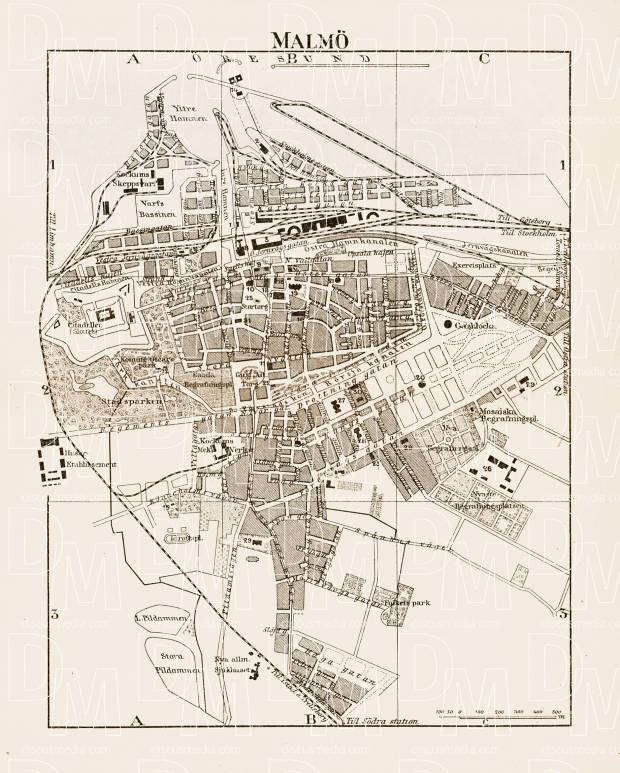 Old map of Malm in 1899 Buy vintage map replica poster print or