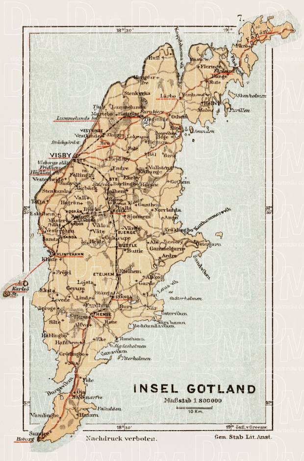 Old Map Of Gotland Island In Buy Vintage Map Replica Poster - Sweden map gotland