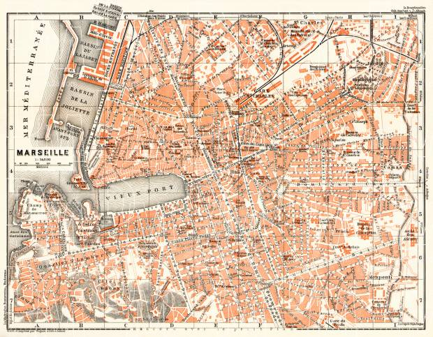 Old map of Marseille in 1913 Buy vintage map replica poster print