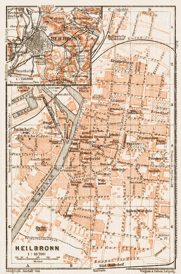 Old map of Heilbronn in 1909 Buy vintage map replica poster print