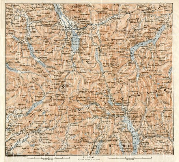 Old Map Of The Lake District In 1906. Buy Vintage Map