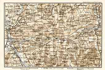 Dorking, Guildford and their environs map, 1906