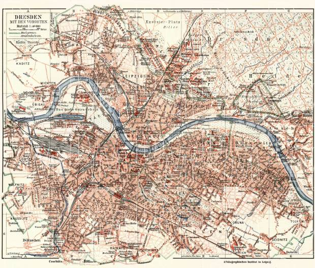 Dresden On Map Of Germany.Dresden And Nearer Suburbs Map About 1910