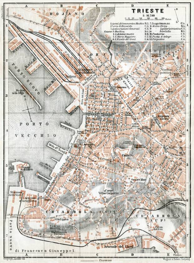 Old map of Triest Trieste in 1910 Buy vintage map replica poster