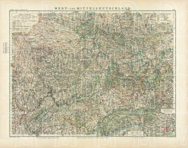 Central Germany Map.Old Map Of The Western And Central Germany In 1905 Buy Vintage Map