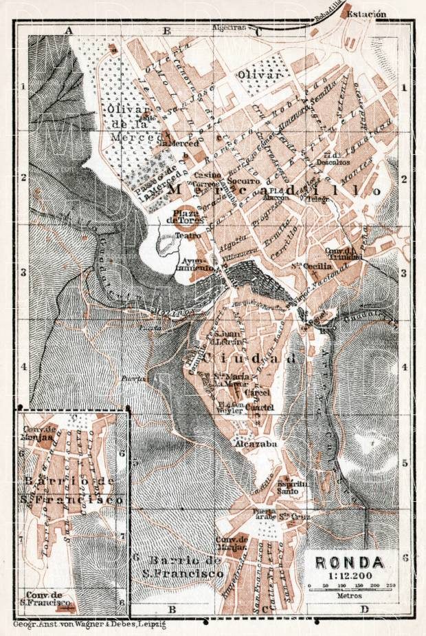 Old Map Of Ronda In 1913 Buy Vintage Map Replica Poster Print Or