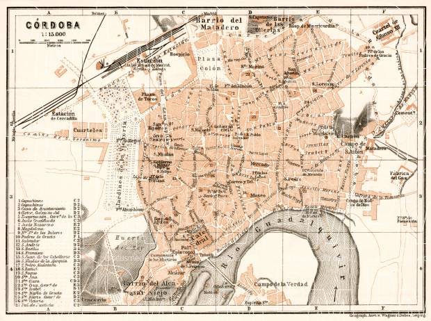 Old map of Crdoba in 1911 Buy vintage map replica poster print or