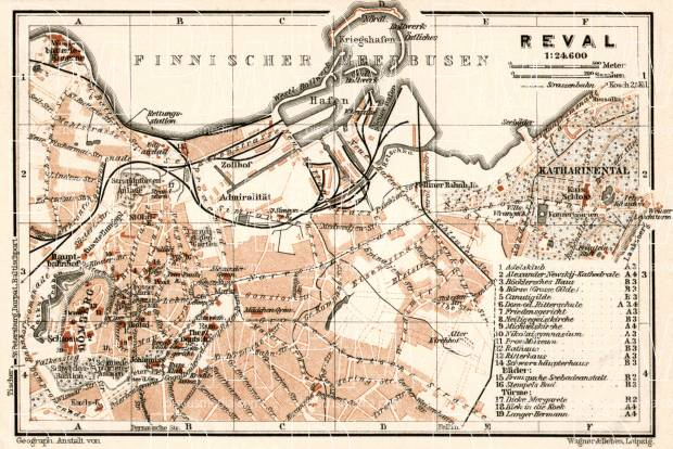Old map of Reval Tallinn in 1914 Buy vintage map replica poster