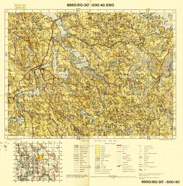 Old Map Of Eno And Vicinity In 1937 Buy Vintage Map Replica