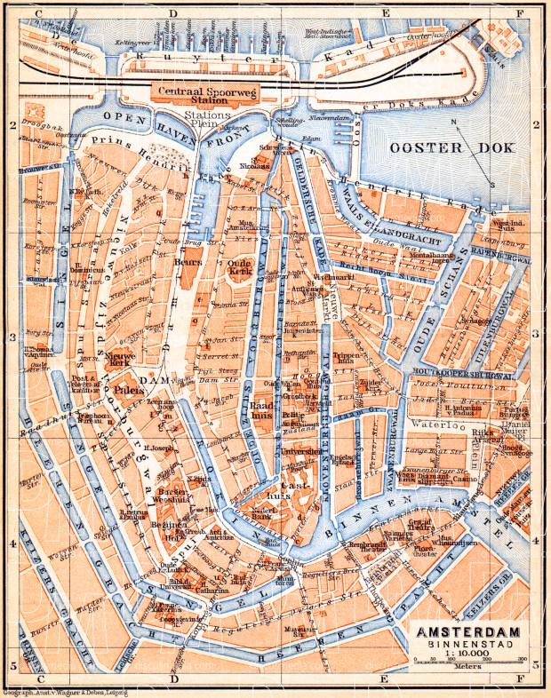 Old Map Of Amsterdam Center In Buy Vintage Map Replica Poster - Amsterdam old map