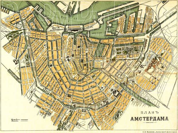 Old map of Amsterdam in 1900 Buy vintage map replica poster print