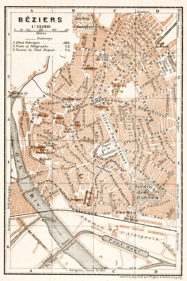 Old map of Bziers in 1902 Buy vintage map replica poster print or
