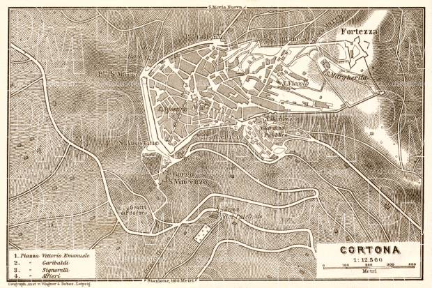 Old map of Cortona in 1909. Buy vintage map replica poster print or ...