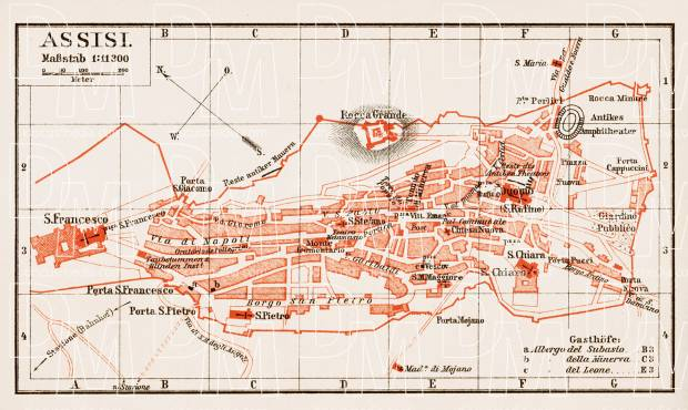 Old Map Of Assisi In 1903 Buy Vintage Map Replica Poster Print Or