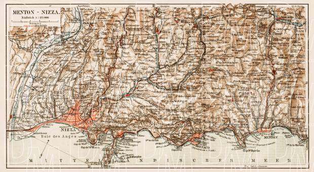 Old map of the mediterranean Riviera between Nice and Menton in