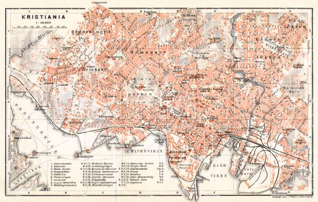 Old map of Christiania Oslo in 1911 Buy vintage map replica