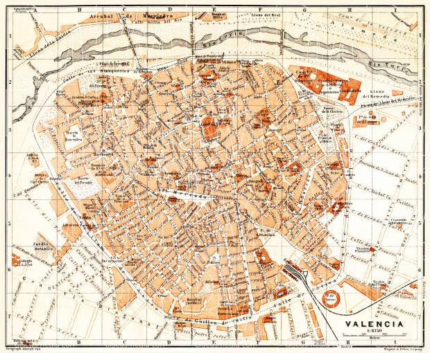 Map Of Spain For Printing.Valencia City Map 1899