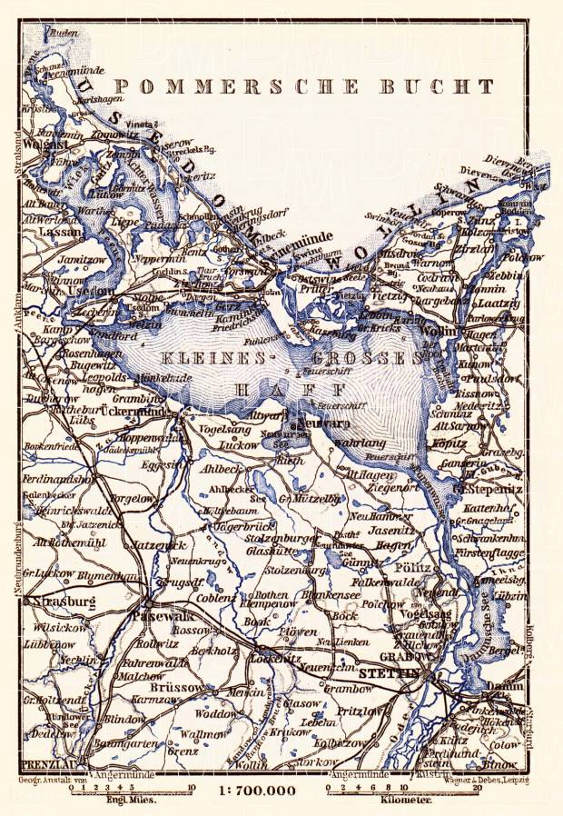 Old map of the vicinity of Stettin Szczecin in 1887 Buy vintage