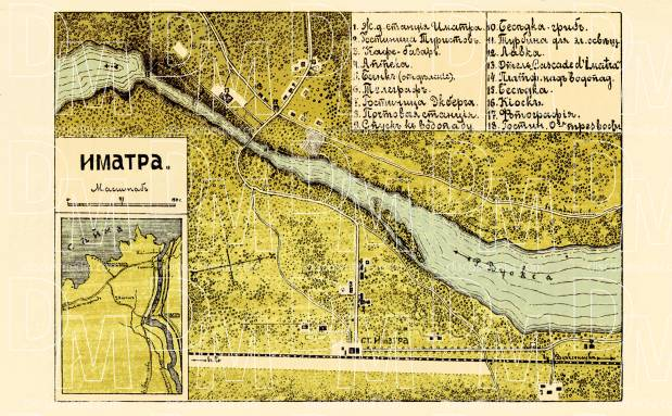Old map of Imatra in 1913 Buy vintage map replica poster print or