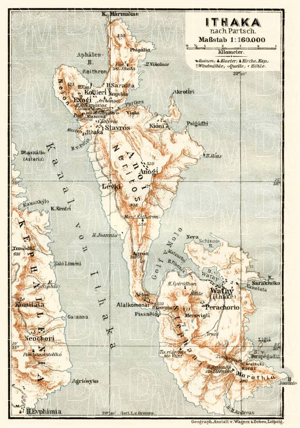 Old map of isle of ithaca in 1908 buy vintage map replica poster ithaca isle map 1908 use the zooming tool to explore in higher level of gumiabroncs Image collections