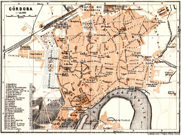 Old map of Crdoba in 1929 Buy vintage map replica poster print or