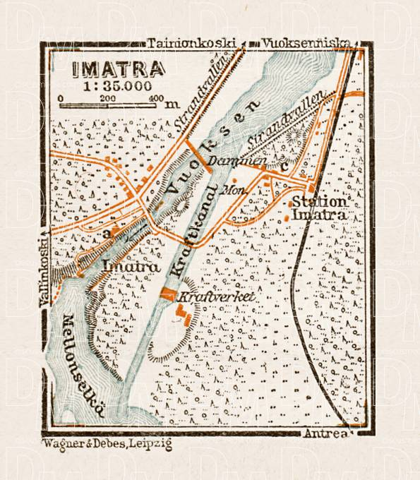 Old map of Imatra in 1929 Buy vintage map replica poster print or