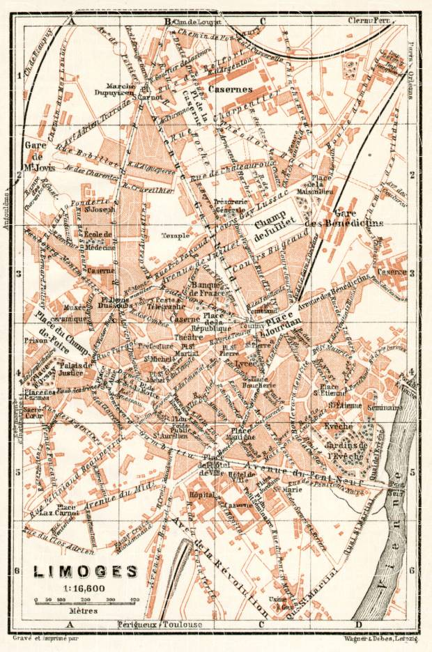 Limoges France Map.Old Map Of Limoges In 1902 Buy Vintage Map Replica Poster Print Or