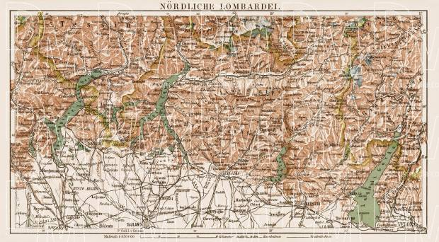 Old Map Of The North Lombardy In 1903 Buy Vintage Map Replica
