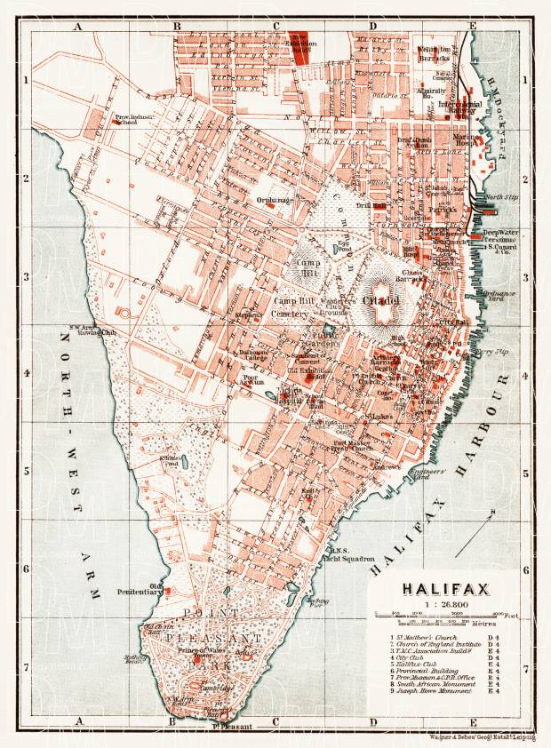 Old map of Halifax in 1907 Buy vintage map replica poster print or