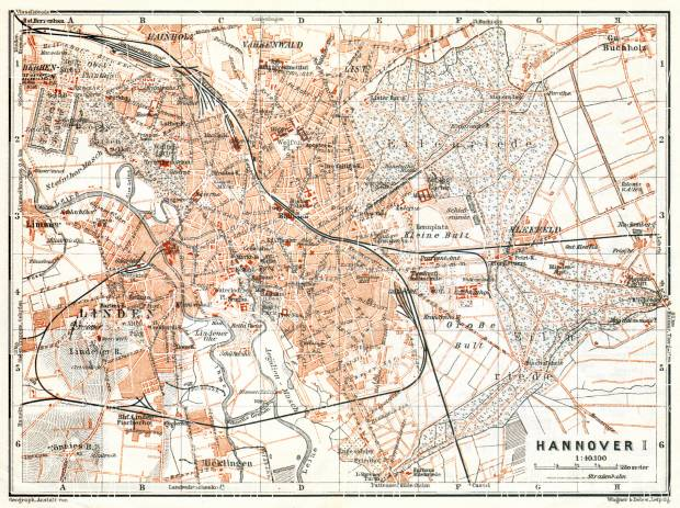 Old map of Hannover in 1906 Buy vintage map replica poster print or
