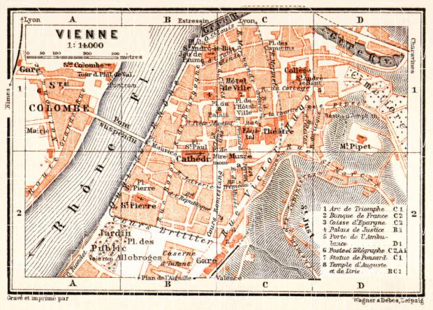 Old map of Vienne in 1913 Buy vintage map replica poster print or