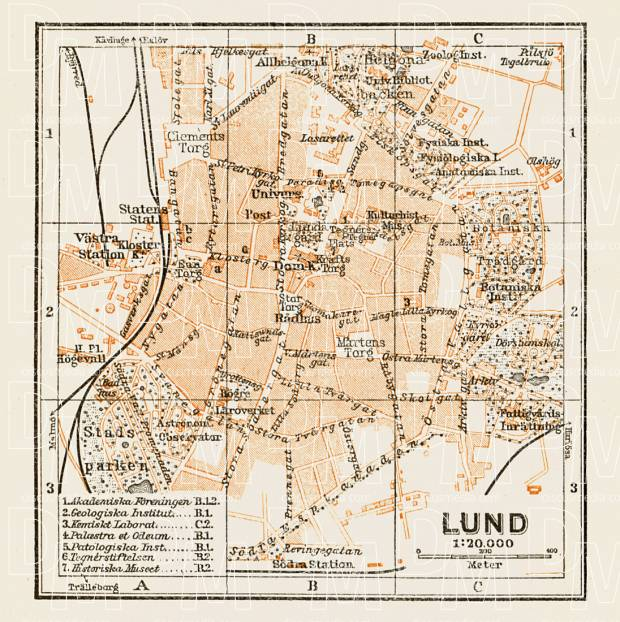 Old map of Lund in 1929 Buy vintage map replica poster print or
