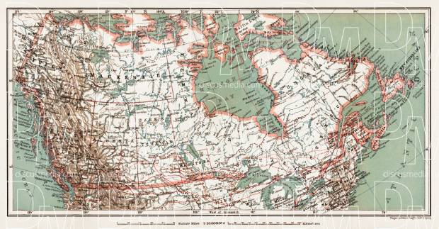 Old Map Of The British North America In 1907 Buy Vintage Map