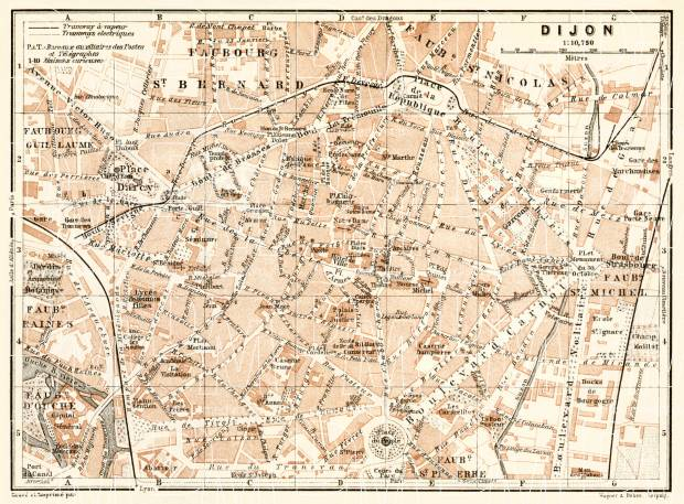 Old map of Dijon in 1913 Buy vintage map replica poster print or