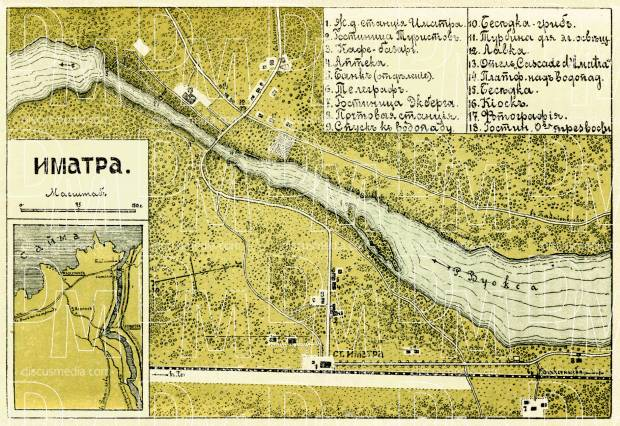 Old map of Imatra and farther vicinity in 1889 Buy vintage map
