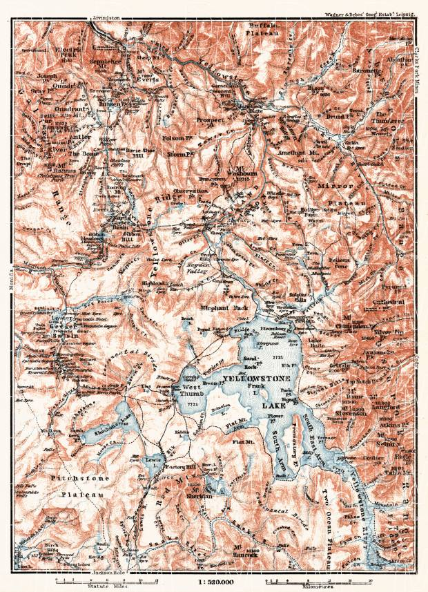 Old map of the Yellowstone National Park in 1909. Buy vintage map ...