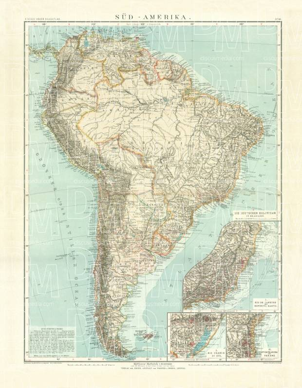 Old map of the South America in 1905 Buy vintage map replica